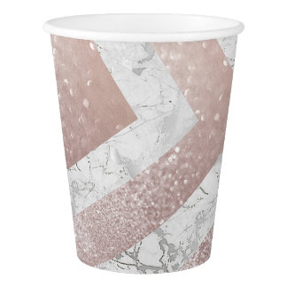Gray White Marble Pink Rose Glitter Gold Paper Cup
