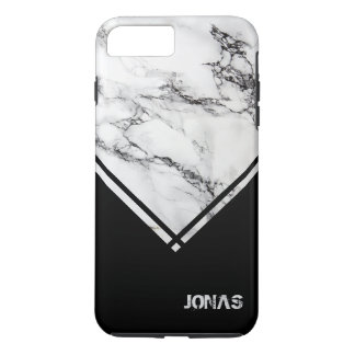 Gray White Marble Stone And Black Triangle iPhone 8 Plus/7 Plus Case
