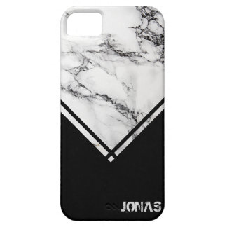 Gray White Marble Texture Black Triangle Case For The iPhone 5