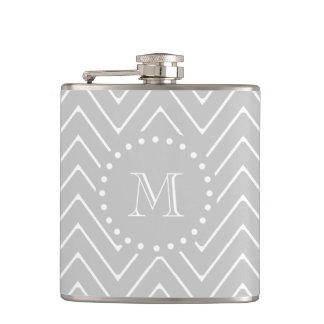 Gray & White Modern Chevron Custom Monogram Hip Flask