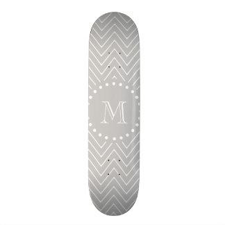 Gray & White Modern Chevron Custom Monogram Skate Board Deck
