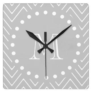 Gray & White Modern Chevron Custom Monogram Square Wall Clock