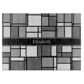 Gray White Mondrian Style Black Ribbon Monogram Cutting Board