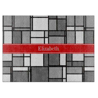 Gray White Mondrian Style Red Ribbon Monogram Cutting Board