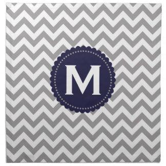 Gray White Monogram Chevron Pattern Napkin