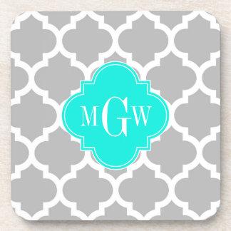 Gray White Moroccan #5 Brt Aqua 3 Initial Monogram Coaster