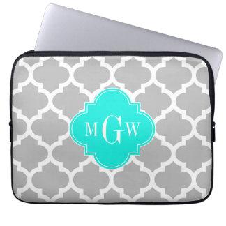 Gray White Moroccan #5 Brt Aqua 3 Initial Monogram Laptop Sleeve