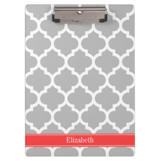 Gray White Moroccan #5 Coral Red Name Monogram Clipboard