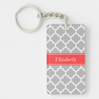 Gray White Moroccan #5 Coral Red Name Monogram Double-Sided Rectangular Acrylic Key Ring