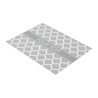 Gray White Moroccan #5 Dark Gray Name Monogram Doormat