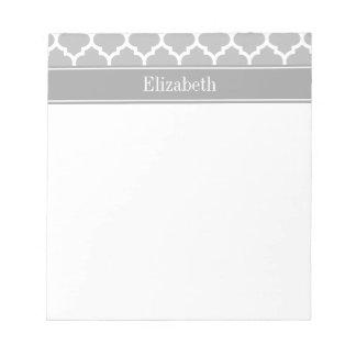 Gray White Moroccan #5 Dark Gray Name Monogram Notepads