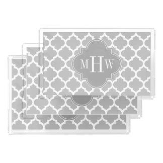Gray White Moroccan #5 Dk Gray 3 Initial Monogram Acrylic Tray