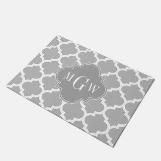 Gray White Moroccan #5 Dk Gray 3 Initial Monogram Doormat