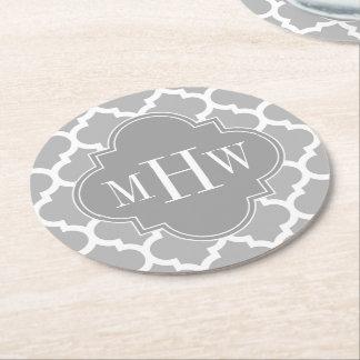 Gray White Moroccan #5 Dk Gray 3 Initial Monogram Round Paper Coaster