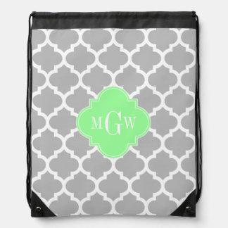 Gray White Moroccan #5 Mint Grn 3 Initial Monogram Drawstring Bag