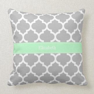 Gray White Moroccan #5 Mint Name Monogram Cushion