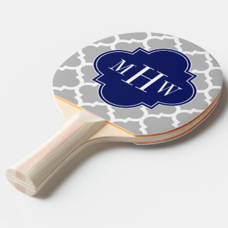 Gray White Moroccan #5 Navy 3 Initial Monogram Ping Pong Paddle