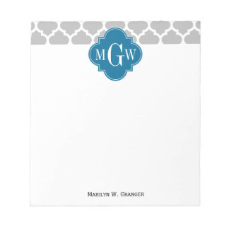 Gray White Moroccan #5 Peacock 3 Initial Monogram Notepad