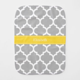 Gray White Moroccan #5 Pineapple Name Monogram Burp Cloth
