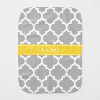 Gray White Moroccan #5 Pineapple Name Monogram Burp Cloths