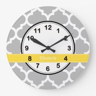 Gray White Moroccan #5 Pineapple Name Monogram Clock