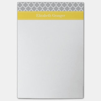 Gray White Moroccan #5 Pineapple Name Monogram Post-it Notes
