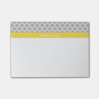 Gray White Moroccan #5 Pineapple Name Monogram Post-it Notes