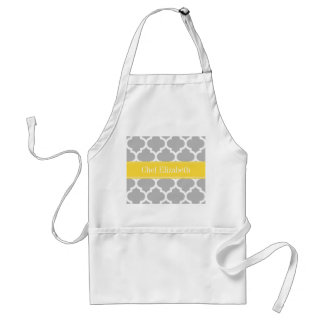 Gray White Moroccan #5 Pineapple Name Monogram Standard Apron
