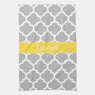 Gray White Moroccan #5 Pineapple Name Monogram Tea Towel