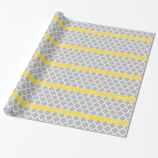 Gray White Moroccan #5 Pineapple Name Monogram Wrapping Paper