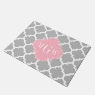 Gray White Moroccan #5 Pink 3 Initial Monogram Doormat