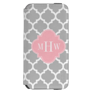 Gray White Moroccan #5 Pink 3 Initial Monogram Incipio Watson™ iPhone 6 Wallet Case
