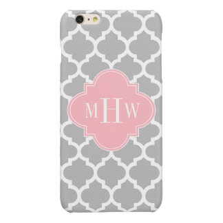 Gray White Moroccan #5 Pink 3 Initial Monogram iPhone 6 Plus Case