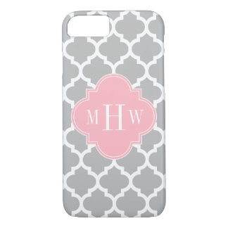 Gray White Moroccan #5 Pink 3 Initial Monogram iPhone 8/7 Case