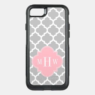 Gray White Moroccan #5 Pink 3 Initial Monogram OtterBox Commuter iPhone 8/7 Case