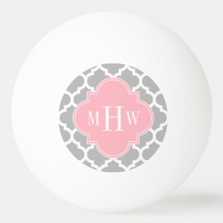 Gray White Moroccan #5 Pink 3 Initial Monogram Ping Pong Ball