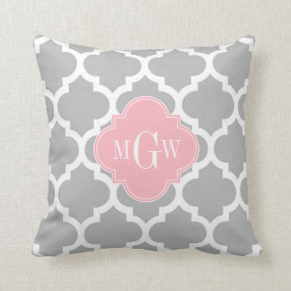 Gray White Moroccan #5 Pink 3 Initial Monogram Throw Pillow