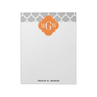Gray White Moroccan #5 Pumpkin 3 Initial Monogram Notepad