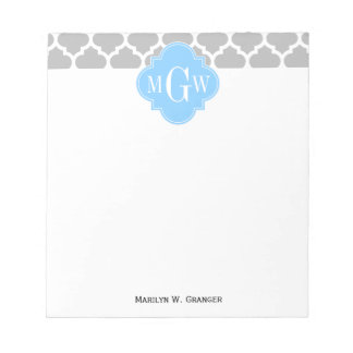 Gray White Moroccan #5 Sky Blue 3 Initial Monogram Notepad