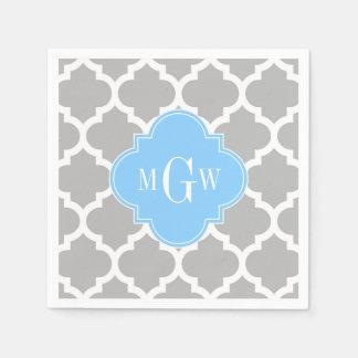 Gray White Moroccan #5 Sky Blue 3 Initial Monogram Paper Napkin