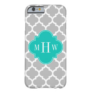 Gray White Moroccan #5 Teal 3 Initial Monogram Barely There iPhone 6 Case