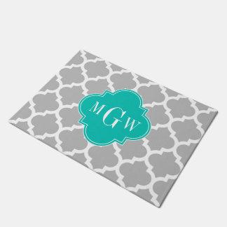 Gray White Moroccan #5 Teal 3 Initial Monogram Doormat