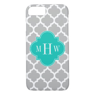 Gray White Moroccan #5 Teal 3 Initial Monogram iPhone 7 Case
