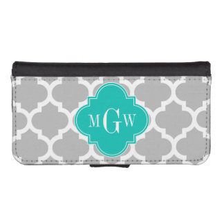 Gray White Moroccan #5 Teal 3 Initial Monogram iPhone SE/5/5s Wallet Case