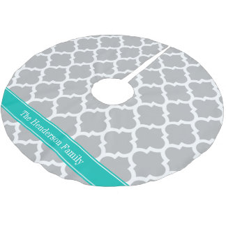 Gray White Moroccan #5 Teal Name Monogram Brushed Polyester Tree Skirt