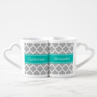 Gray White Moroccan #5 Teal Name Monogram Coffee Mug Set