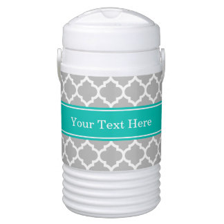 Gray White Moroccan #5 Teal Name Monogram Drinks Cooler