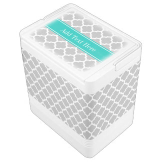 Gray White Moroccan #5 Teal Name Monogram Igloo Cooler