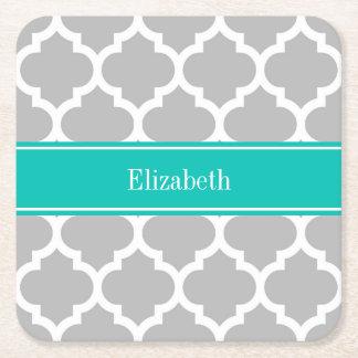 Gray White Moroccan #5 Teal Name Monogram Square Paper Coaster