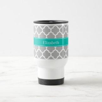 Gray White Moroccan #5 Teal Name Monogram Travel Mug